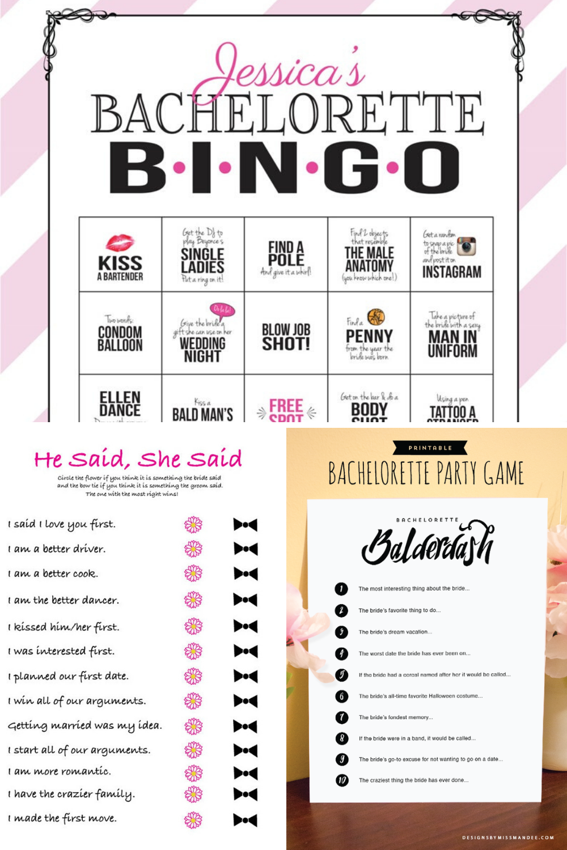 Printable Bachelorette Games