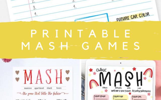 Printable Mash Games