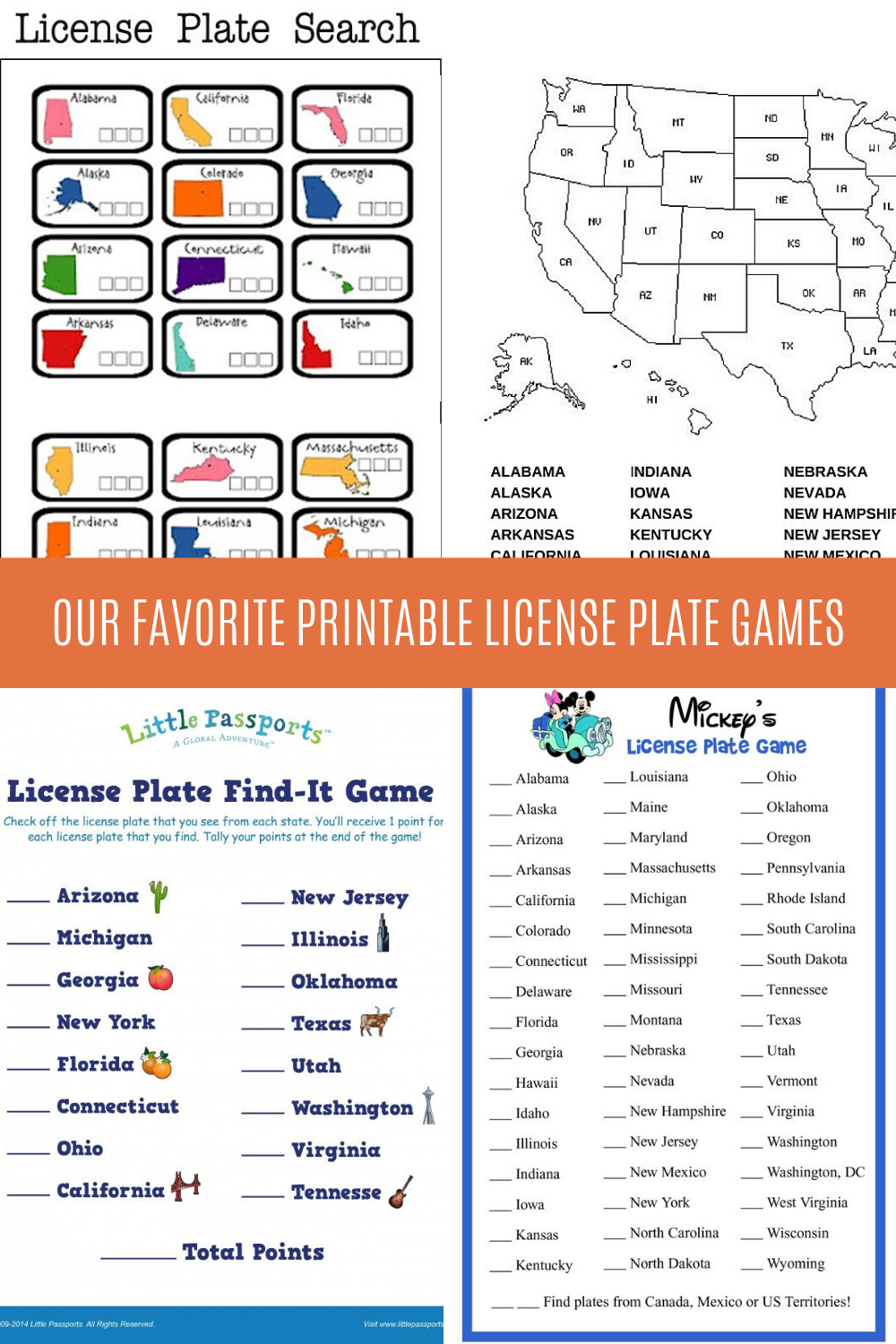 Printable License Plate Games