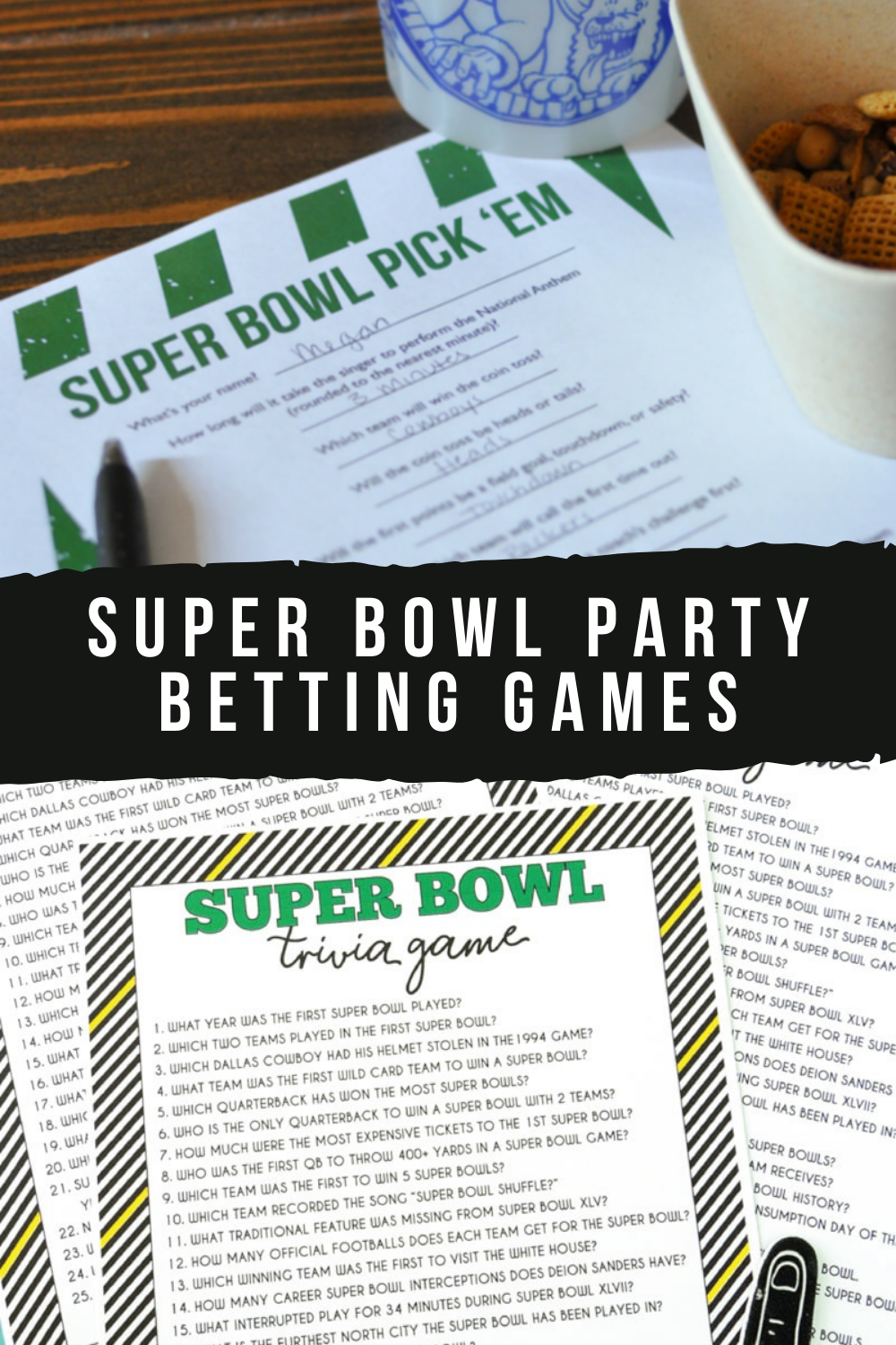 Super Bowl Party Printable Betting Games