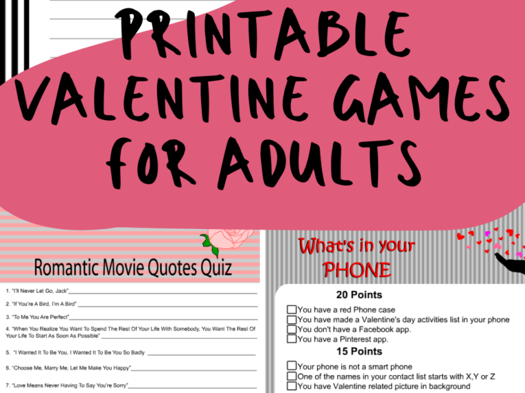 Printable Valentine Games for Adults