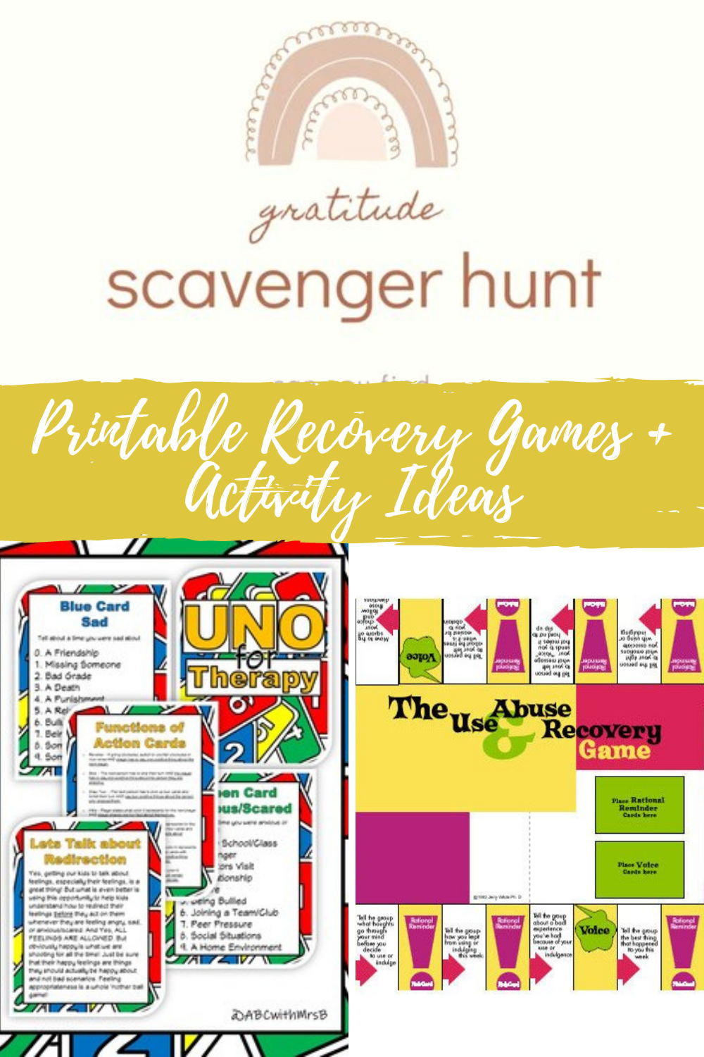 Printable Recovery Ideas Games & Scavenger Hunts