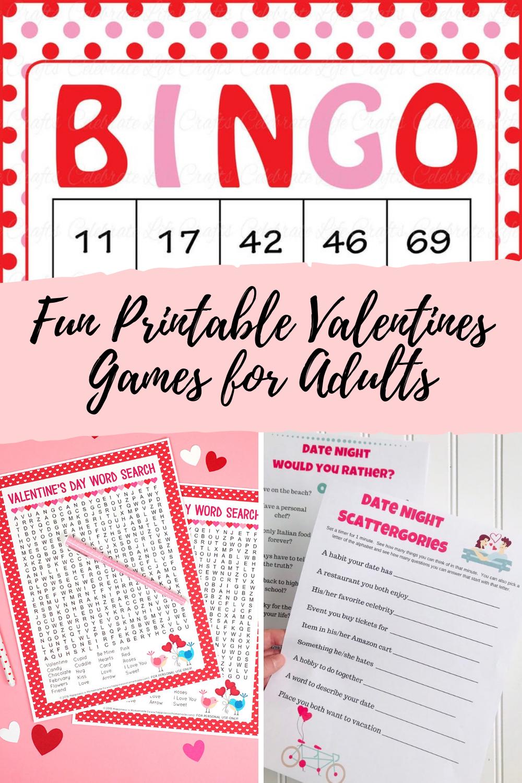 Printable Bingo Valentine Games for Adults