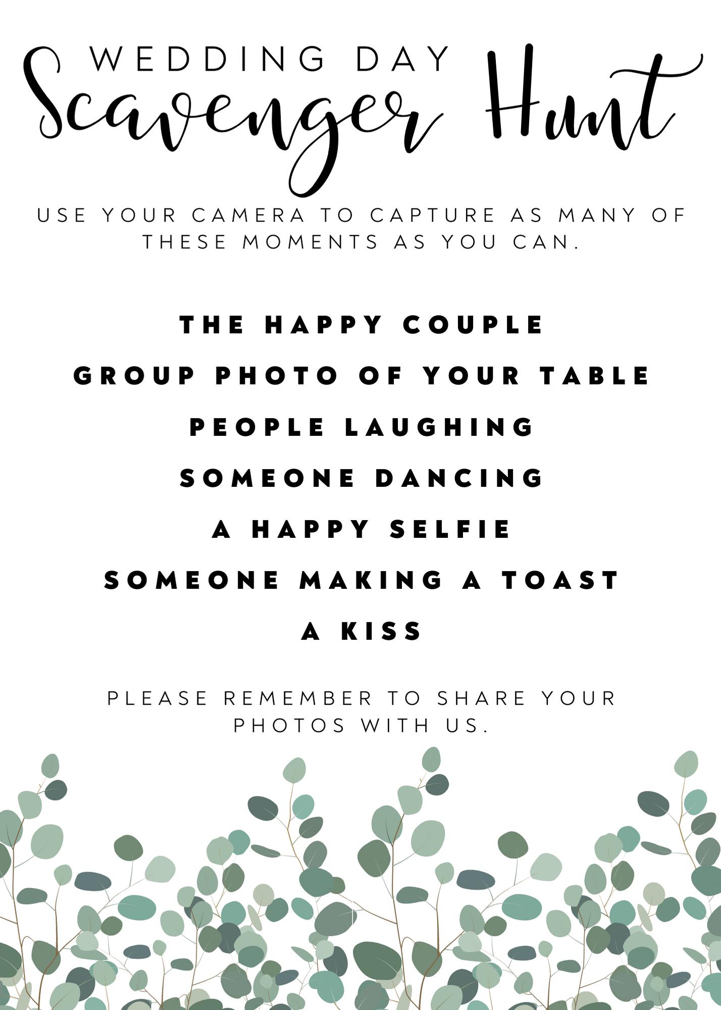 Wedding Scavenger hunt PDF download free wedding printable