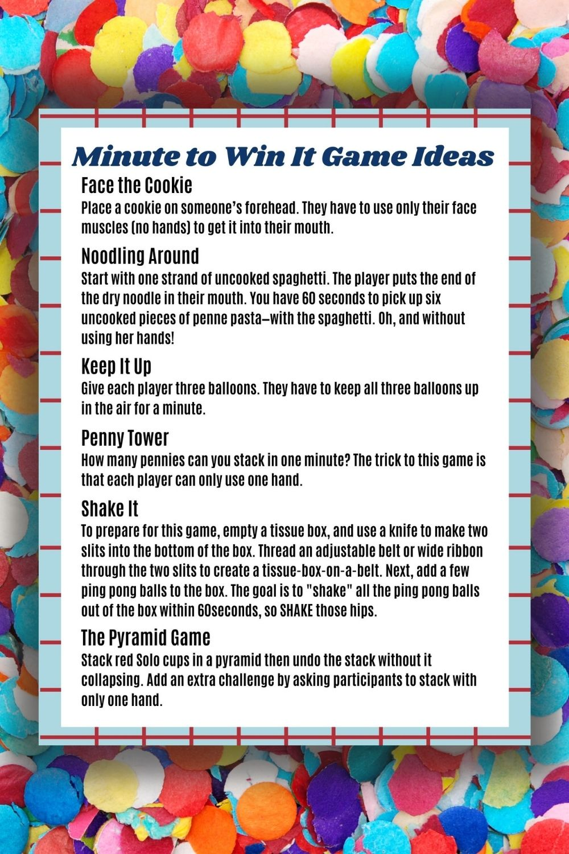 Minute to Win It Game Ideas PDF List