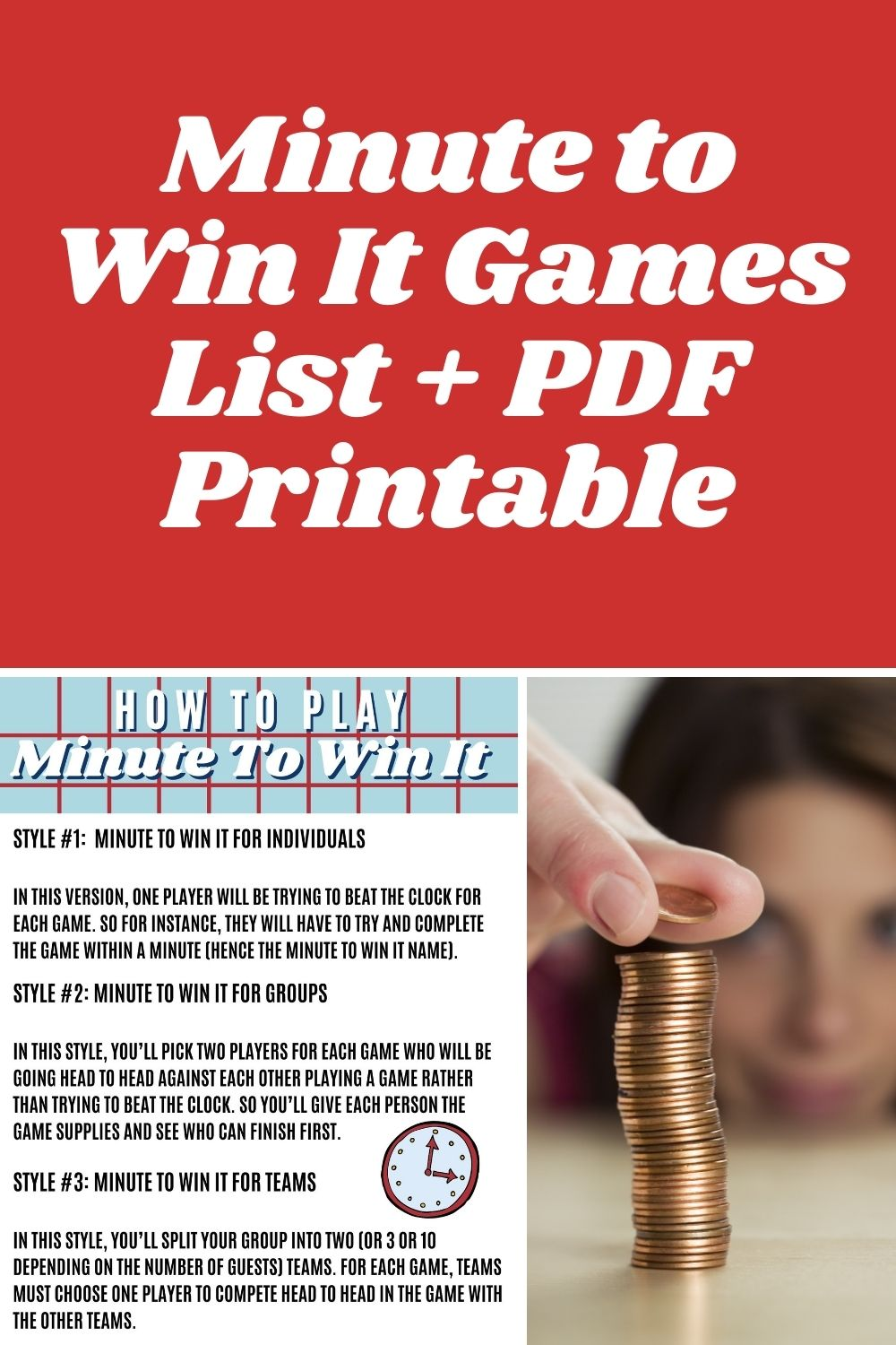 Minute To Win It Printable Games List