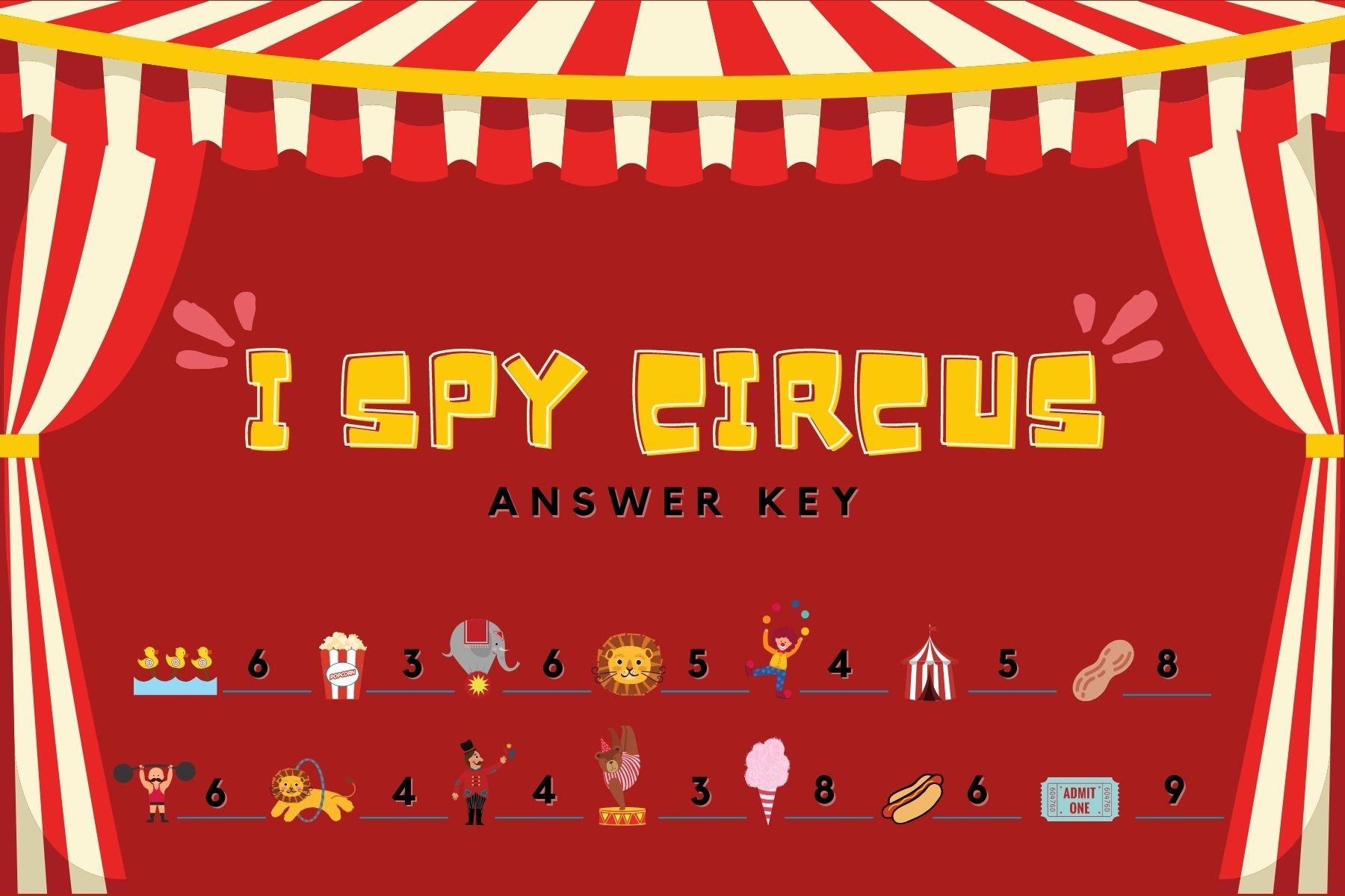Carnival game I Spy Answer Key